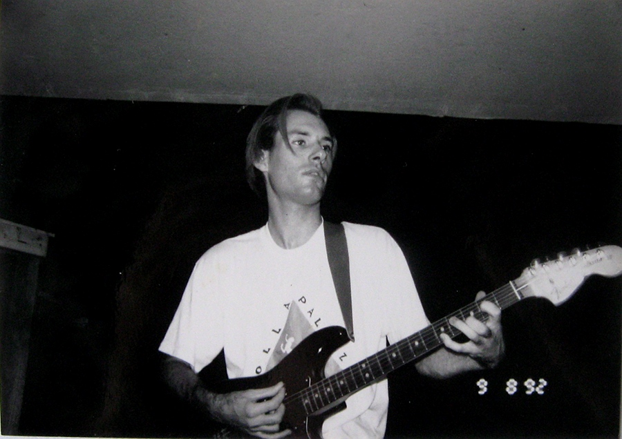 Dan recording Loungefly demo at Electric Landlady Studio, Hollywood, CA 9-8-92
