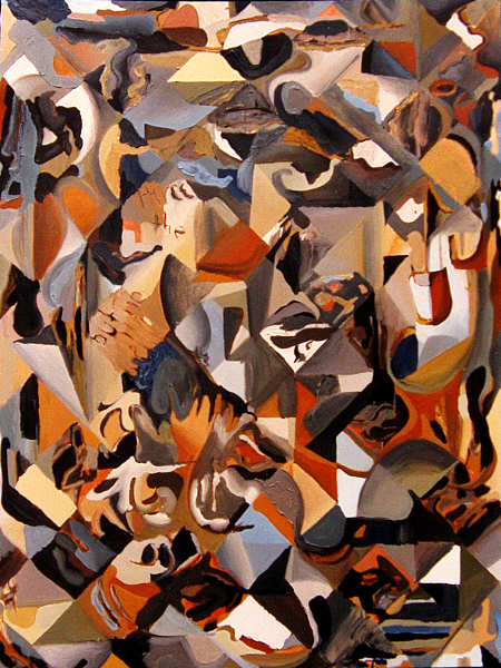 """keep the hell out of my cubist dream oil on canvas  -  48"""" x 36""""  -  1993"""