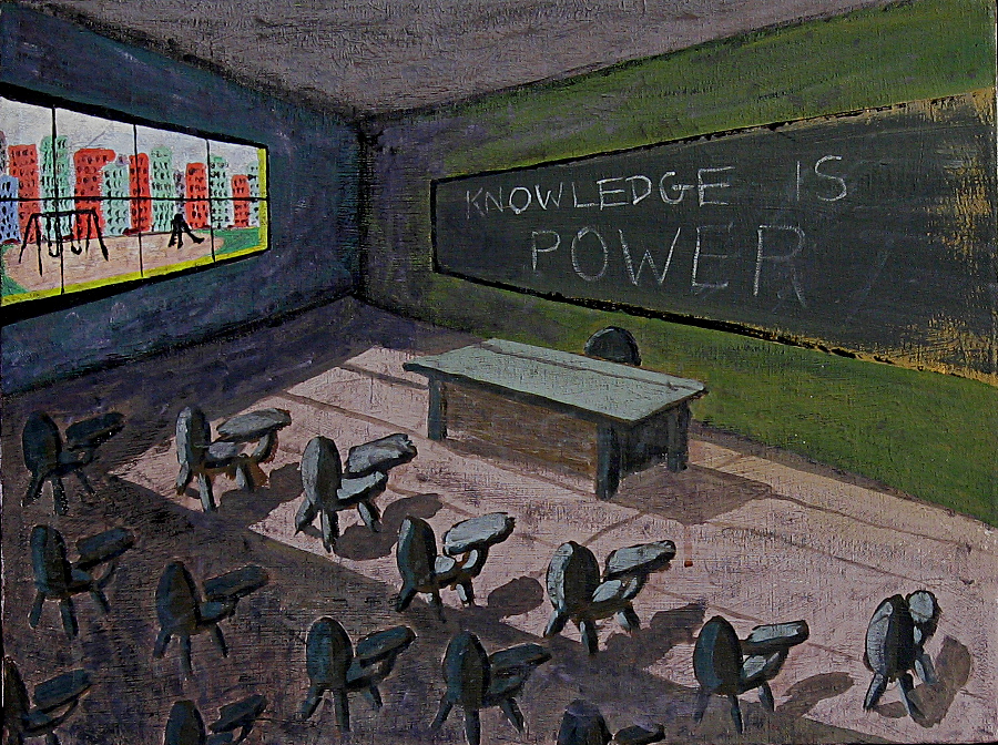 "knowledge acrylic on canvas  -  18"" x 24""  -  1991"