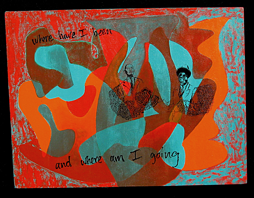 """Beat, Electric acrylic and enamel on canvas  -  18"""" x  24""""  -  1994"""