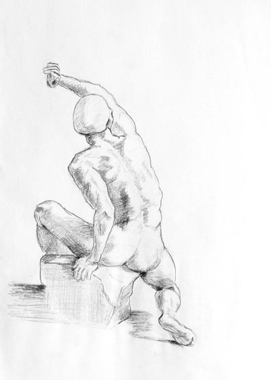 Sketchbook -- Copied Drawing of a Seated Figure