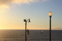 Redondo Beach lamps in front of ocean